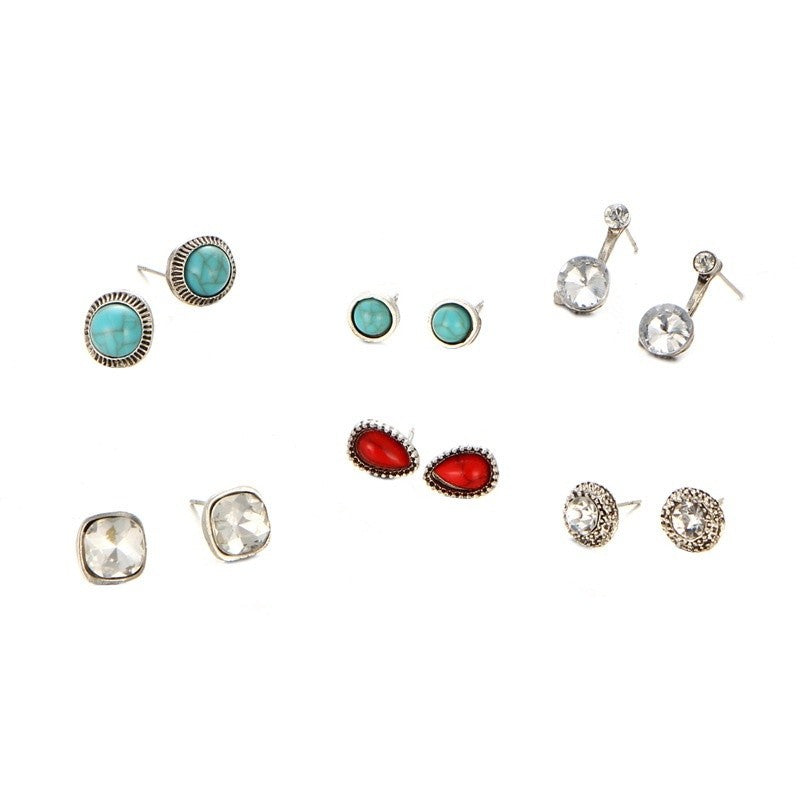 6Pcs Europe and The United States Hot Selling Simple Earrings Combined with Drill Loose Stone