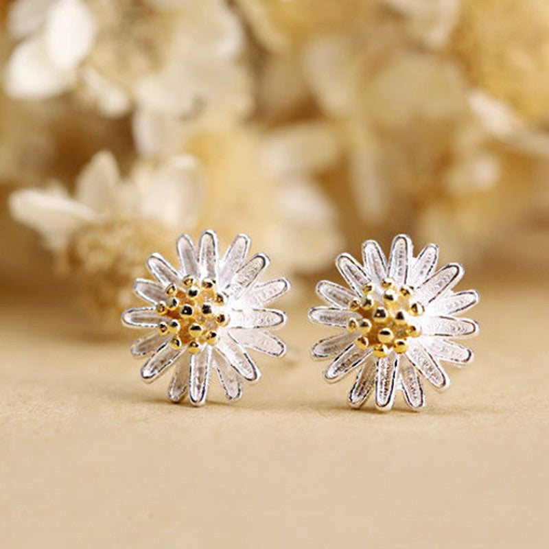 1Pair Fashion 925 Sterling Silver Flower Yellow Ear Stud Earrings Jewelery