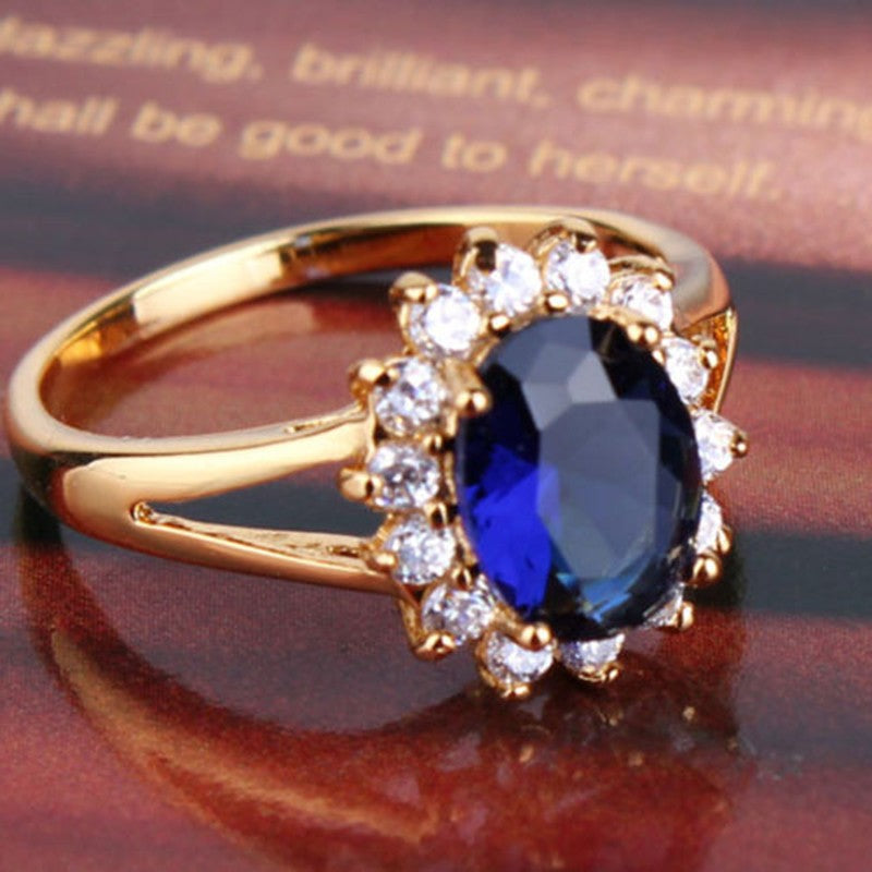 Luxury 24k Gold filled Blue Diamond Sapphire Eye Catching Woman Ring