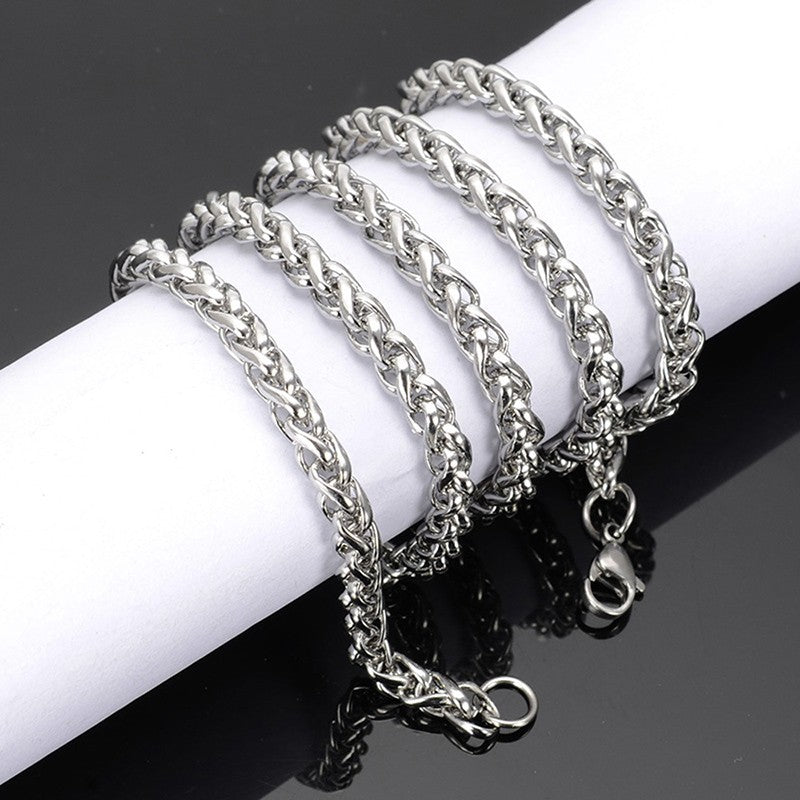 60cm Men's Silver Stainless Steel Wheat Braided Chain Necklace Jewelry Chain 3mm  6mm