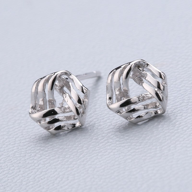 925 Silver Needle Earrings Female Word Stick Ear Stick, Temperament, Not Allergic Personality Geometric Simple Earrings
