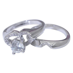 Women s Princess Cut Silver CZ Wedding Engagement Ring Set