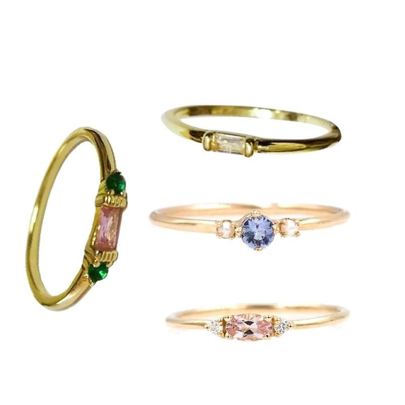 Plated 18k Yellow Gold Set of 4 Rings Set Europe and Simple Zircon Decorated Ring