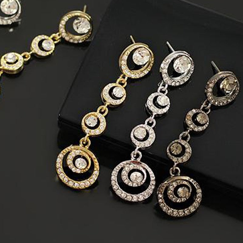 Beautiful bride fashion circle diamond earrings earrings