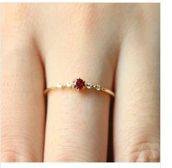 Exquisite Fashion Women Gold Ruby Diamond Ring Wedding Engagement Party Thin Rings For Women Jewelry