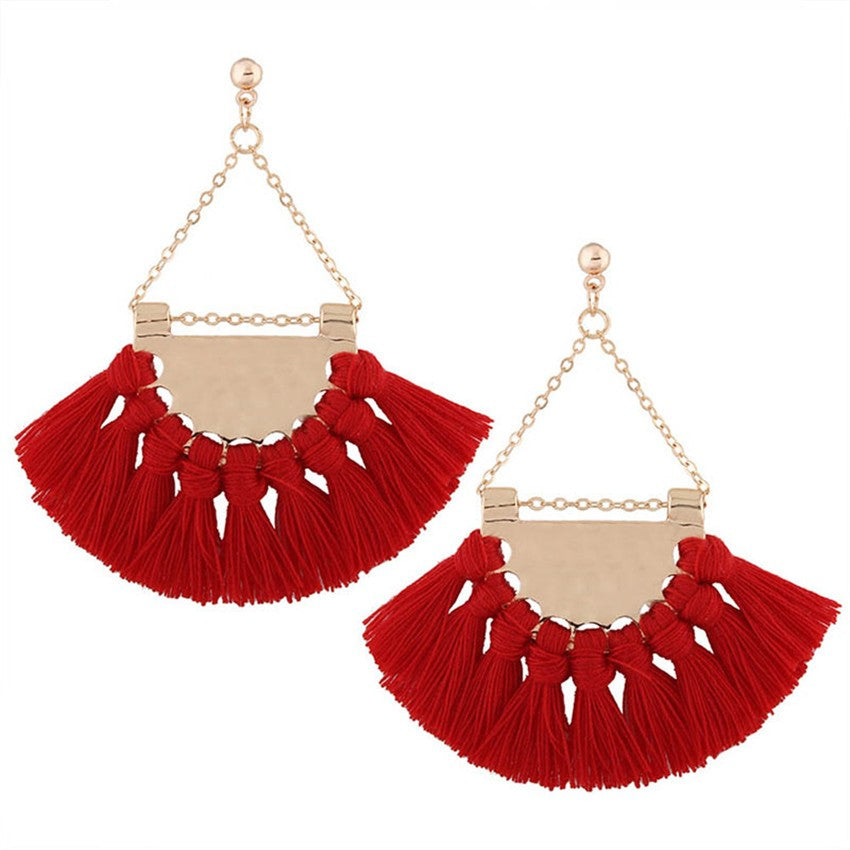 1 Pair Fashion Bohemian Earrings Women Long Fan Shape Tassel Fringe Dangle Earrings Jewelry