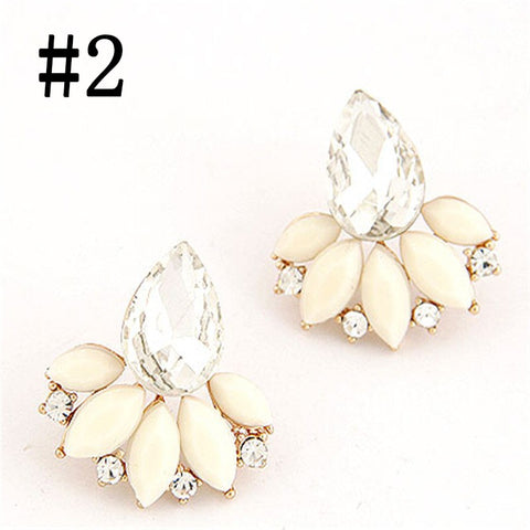 1 Pair Women Retro Exquisite Acrylic Flower Crystal Gem Cubic Zircon Stud Earrings Jewelry Gift