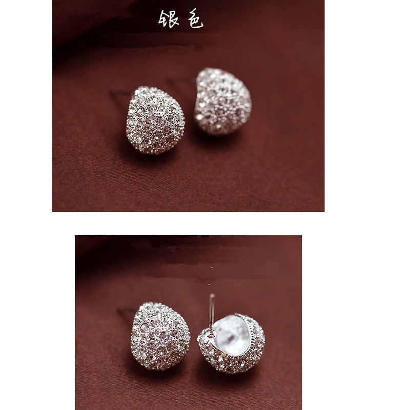1Pair  Fashion Diamond Earrings Korean Super Flash Shell Ear Studs Jewelry