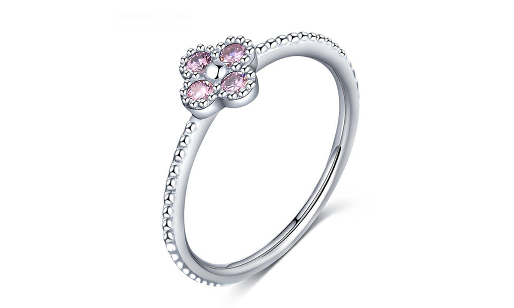 Pink & White Clear CZ Romantic Clover Ring Women