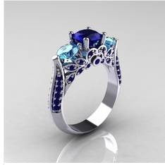 1pcs Fashion Blue Crystal Women Wedding Engagement Ring Party Jewelery Gift