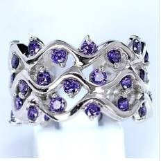 Dazzling Jewelry Tanzanite 925 Sterling Silver Hollow Out Diamond Rings Wedding Band Wave Ring