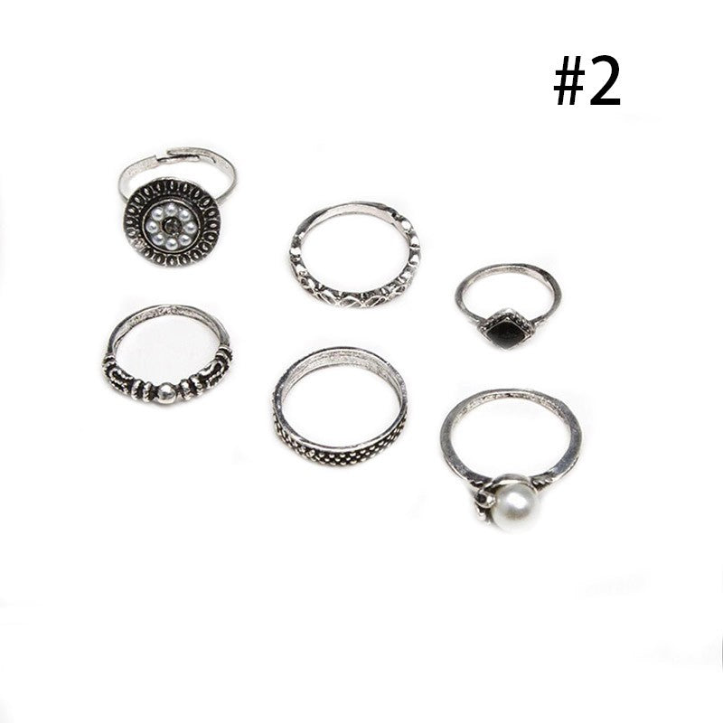 6pcs Boho Fashion Peal Finger Knuckle Rings Jewelry