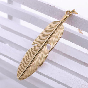 Women Feather Pendant Long Chain Necklace Sweater Statement Vintage Jewelry