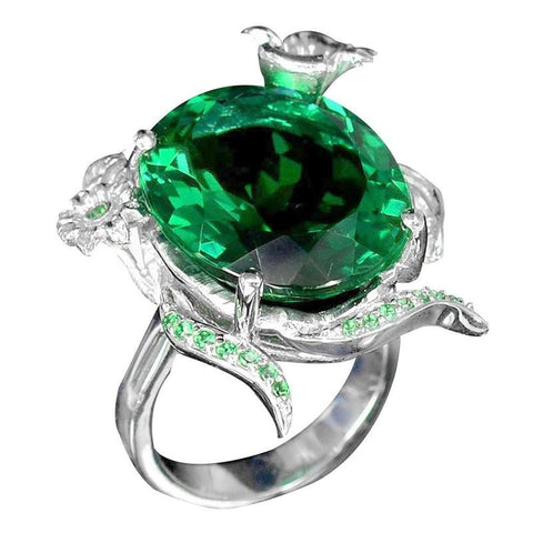 Emerald Women Men 925 Silver Ring Wedding Cocktail Size 6 10