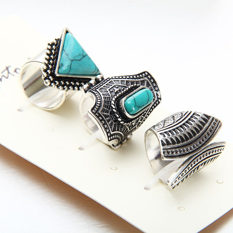 3pcs Punk Silver Gold Plated Stone Rings