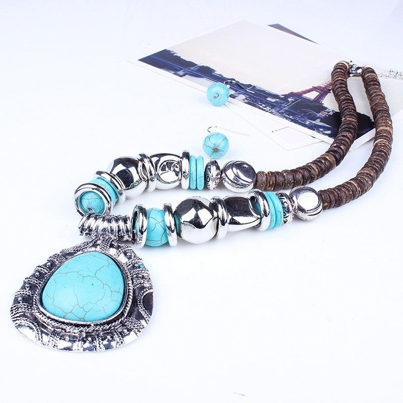 blue turquoise stone pendant wooden beaded necklace earrings set