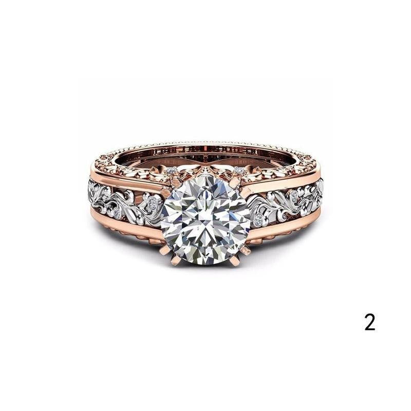 New Plated 14k Rose Gold Separation Ring Champagne colored Gemstone Ring