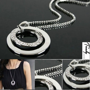 Women's Crystal Rhinestone Silver Plated Long Chain Pendant Necklace