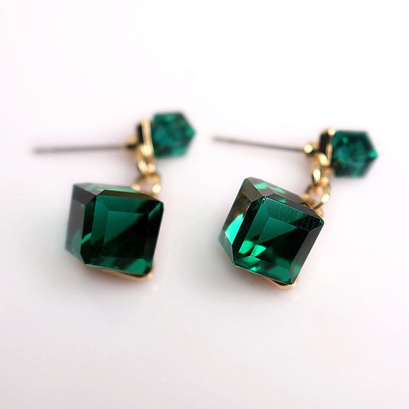 2017 New Trendy Earrings For Woman Jewelry Brincos Fashion Double Square Crystal  Stud Earring