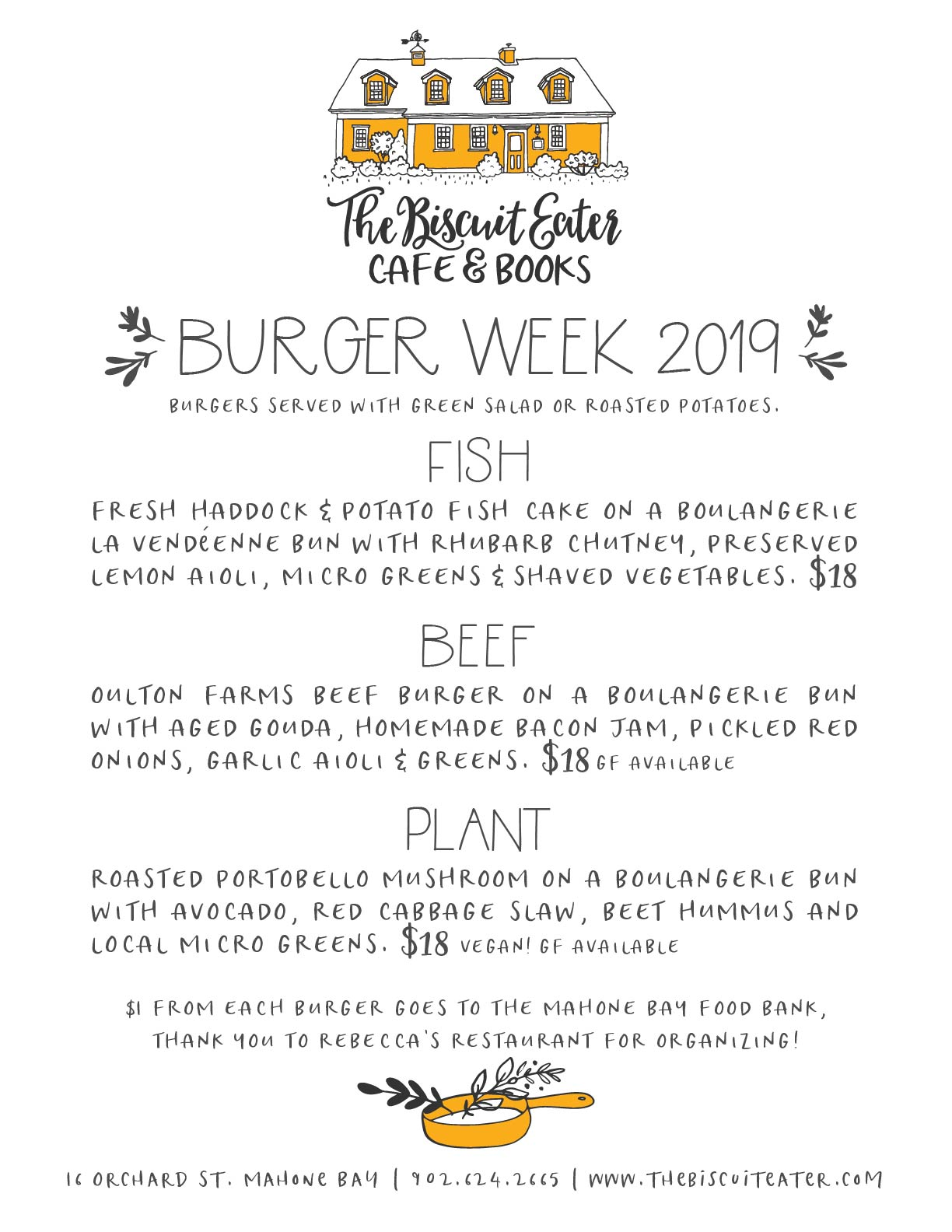 Mahone Bay Burger Week 2019 menu