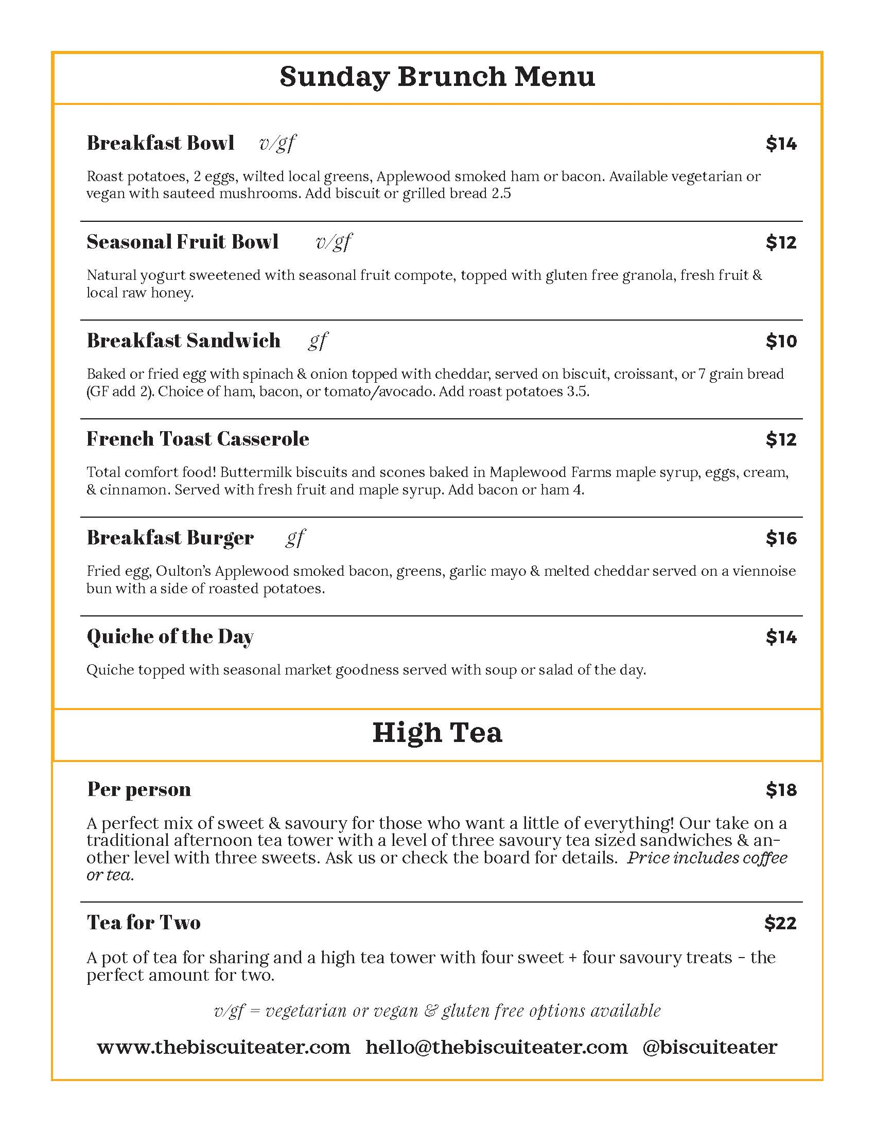 The Biscuit Eater Cafe, Mahone Bay, Nova Scotia, Sunday Brunch Menu