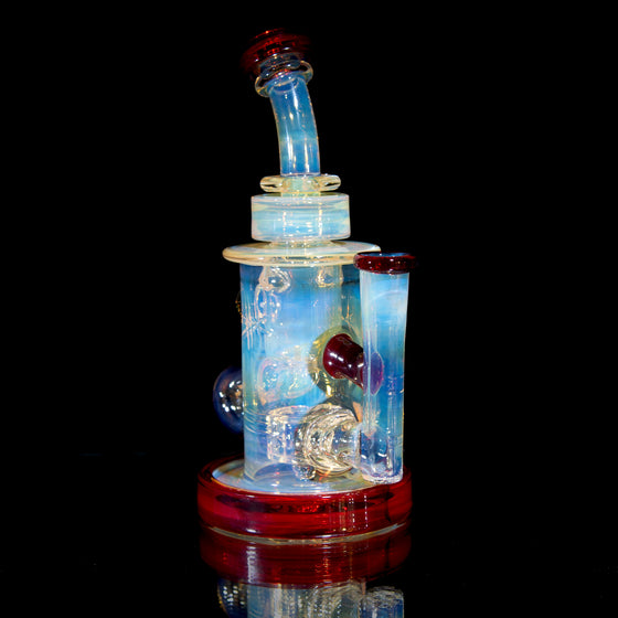 Fumed & Carved Klein Recycler w/ Gridded Perc - Pomegranate - 14mm Female