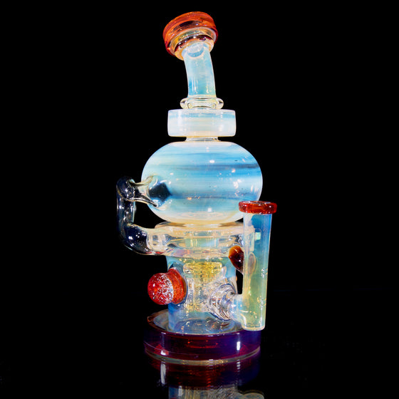 Fumed & Carved Orbital Recycler - Pomegranate - 14mm Female