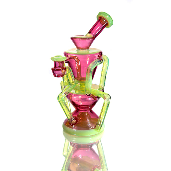 Quad-Double Floating Recycler - Telemagenta/Slyme - 10mm Female