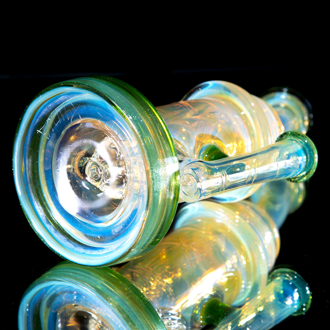 Fumed & Carved Klein Recycler - Green Stardust - 14mm Female