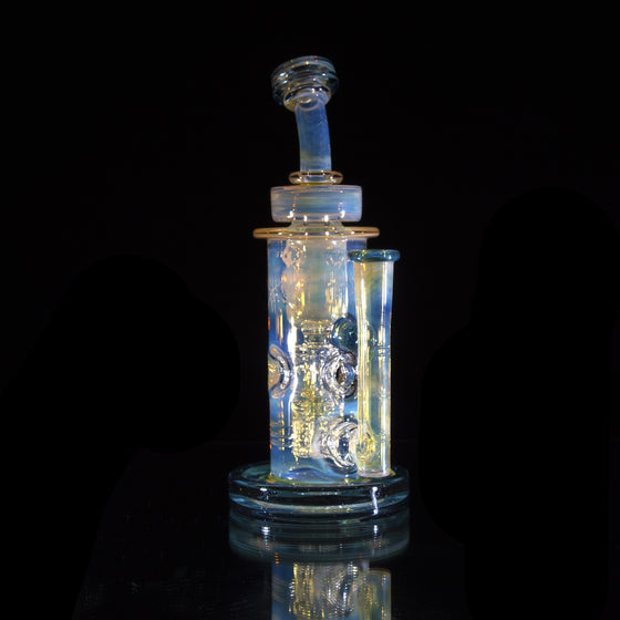 Fumed & Carved Swiss Fab Torus (SFT) Incycler - Blue Stardust - 14mm Female