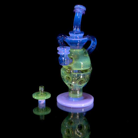 Double-Uptake Faberge Egg Klein Recycler  - CFL Lucid/Sunset Slyme - 14mm Female