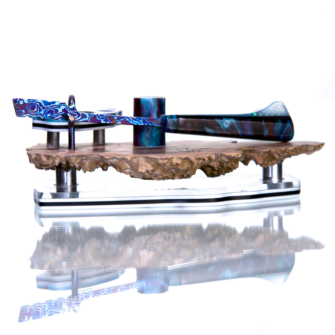 """Tactical Spatula"" Timascus™️ Dab Tool w/ LED-lit Burl Display Stand - Graffiti Resin/Pearl Dichro"