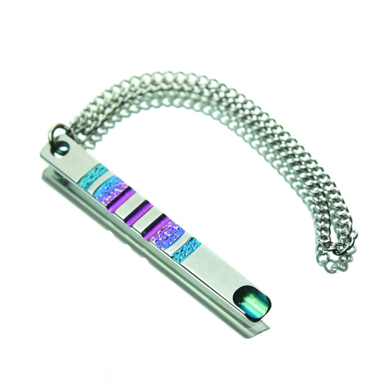 Anodized Titanium Integral Keychain Scoop Dabber w/ Hammered Purple-Blue-Teal Accents