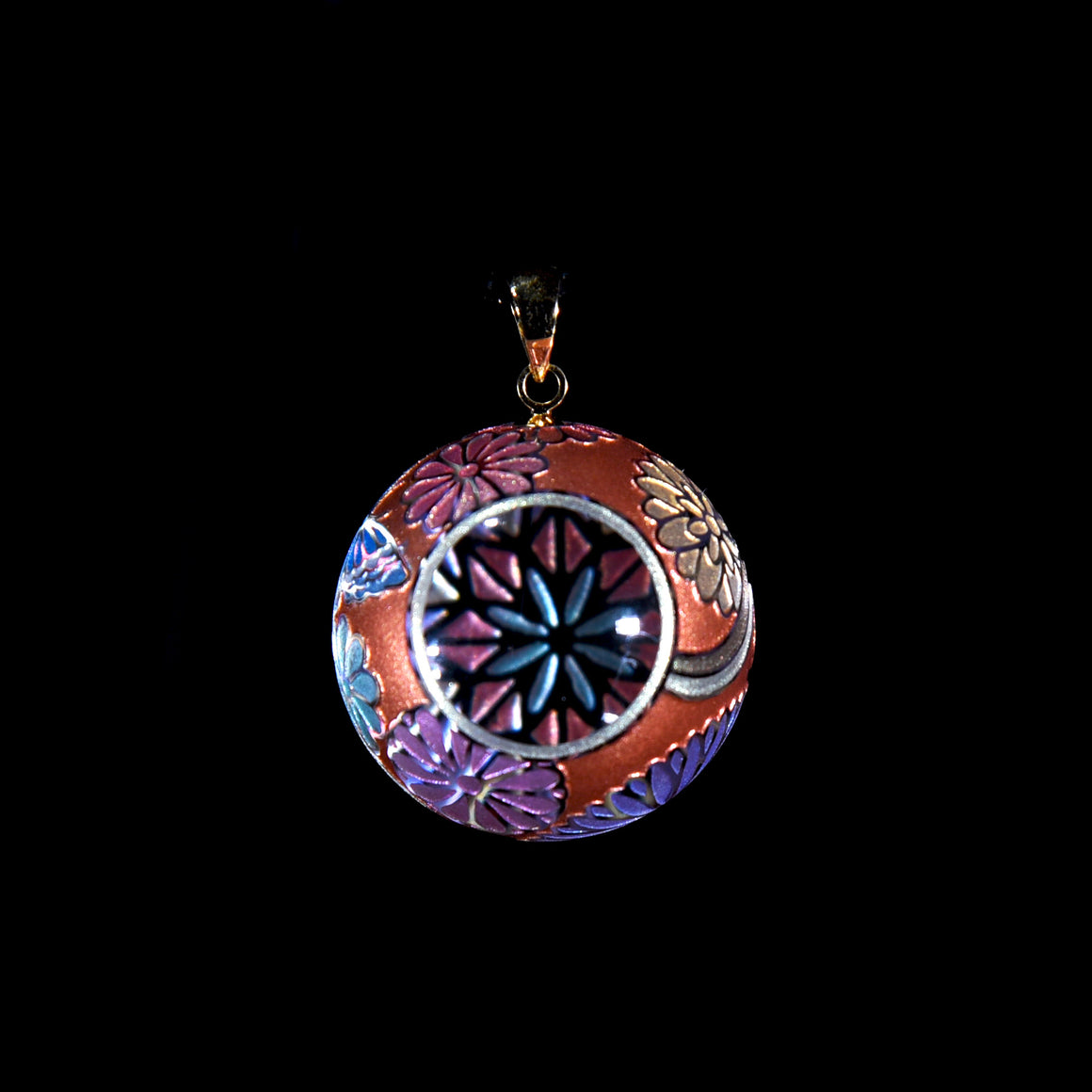 Butterfly Kaleidoscope Pendant - Orange