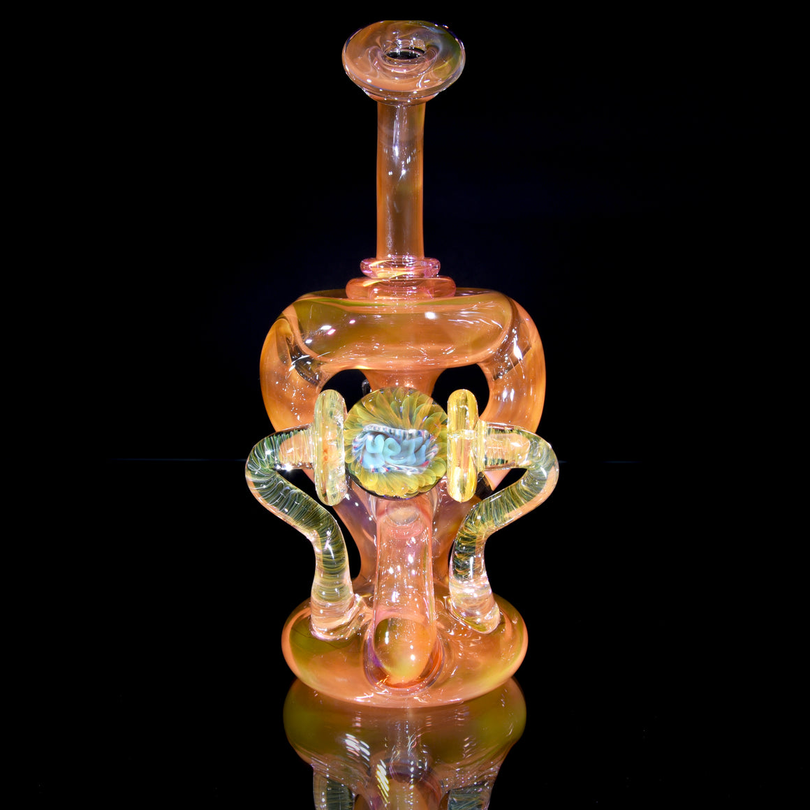 Fully-fumed Double Uptake Klein Recycler w/ Spinning Marble - 14mm Female