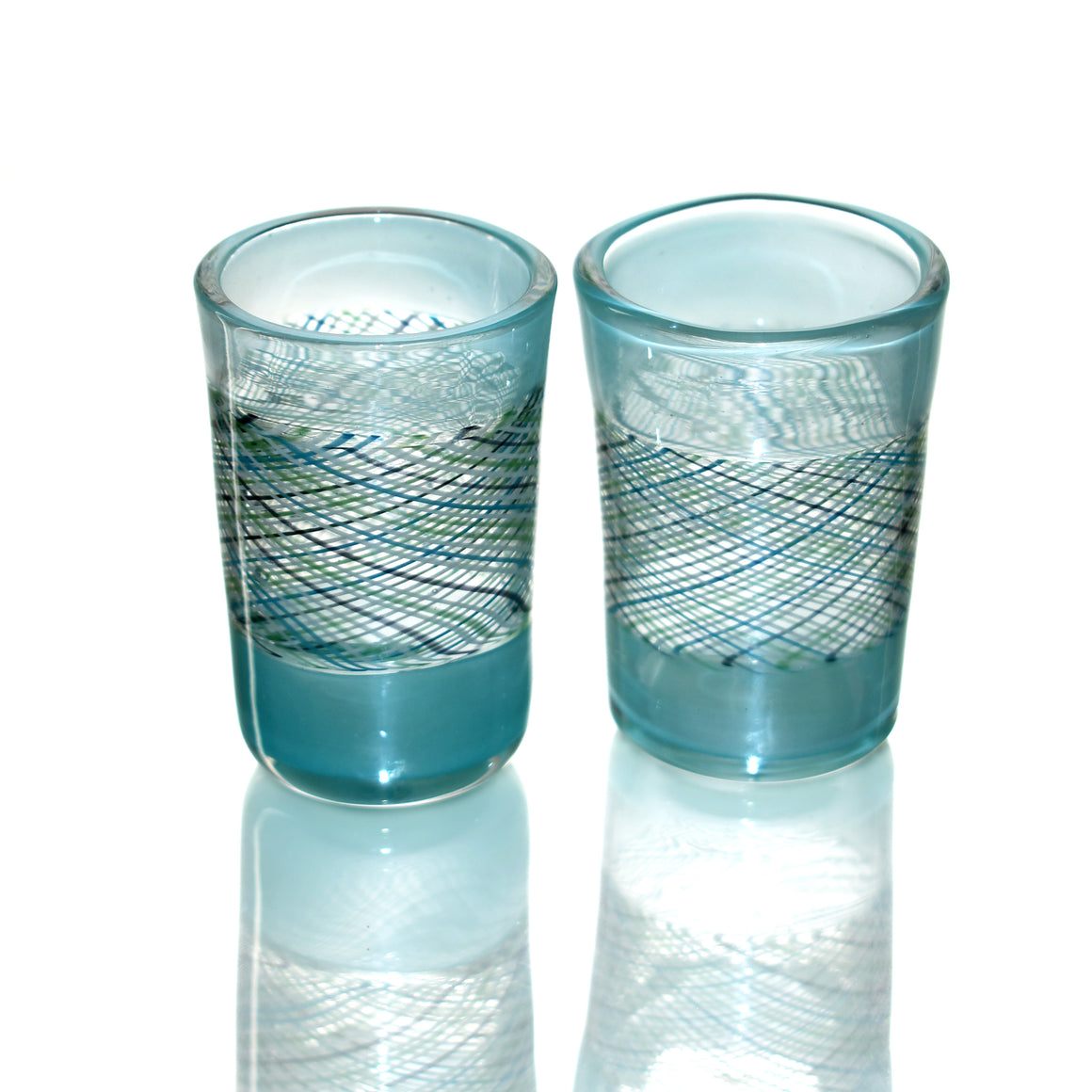 Fully-worked Shot Glass Set - Arctic Blue/Icy Reticello