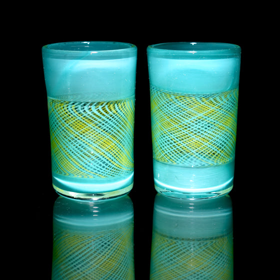 Fully-worked Shot Glass Set - Blue/Yellow Reticello