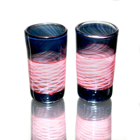 Fully-worked Shot Glass Set - Black/Red Reticello