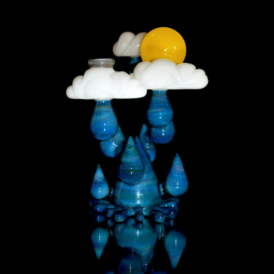 Sunrise Raindrop Rig w/ Puking Rainbow Cloud Cap - Fumed Blue/White - 14mm Female