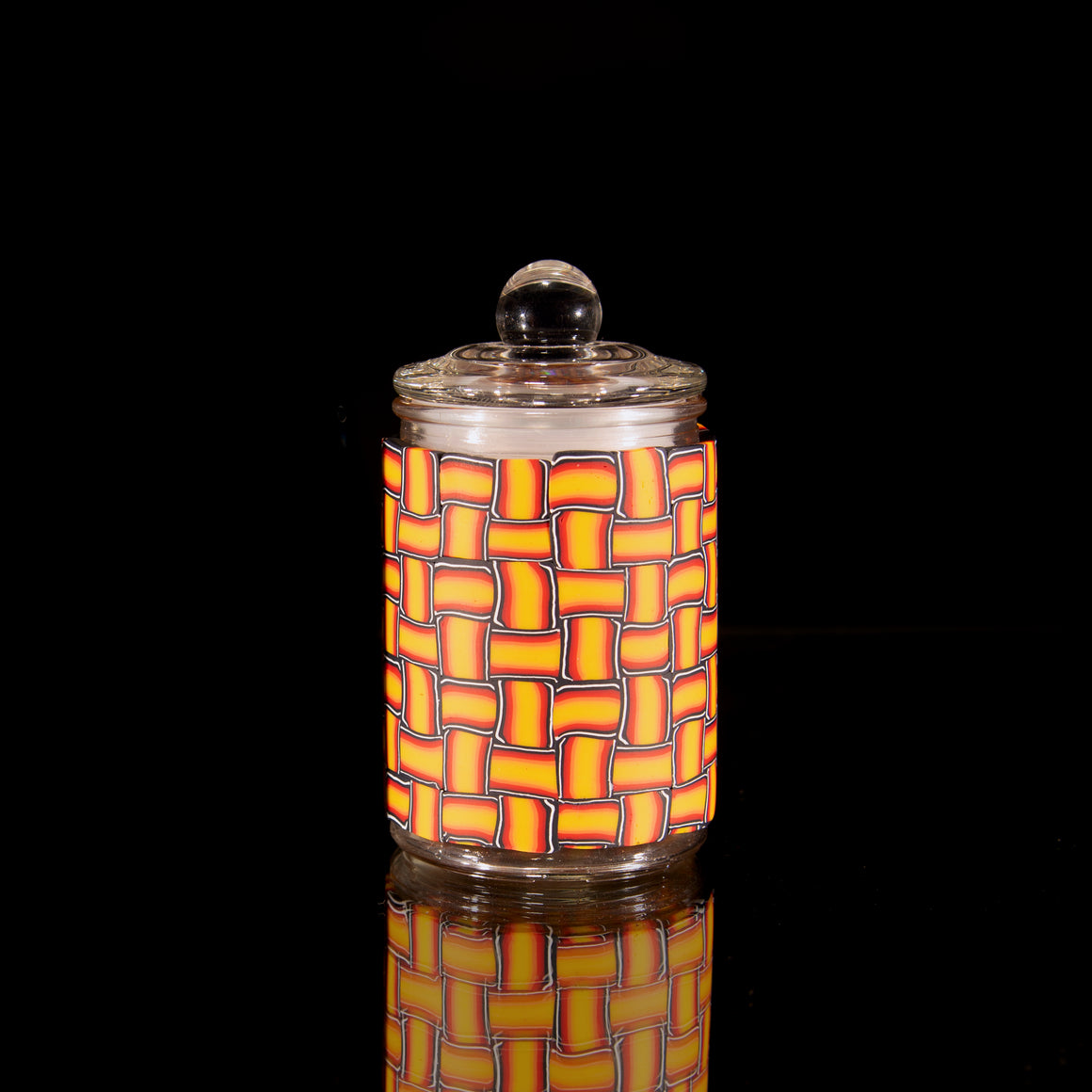 Airtight Glass Stash Jar - Seamless Fire Basket Weave - Medium