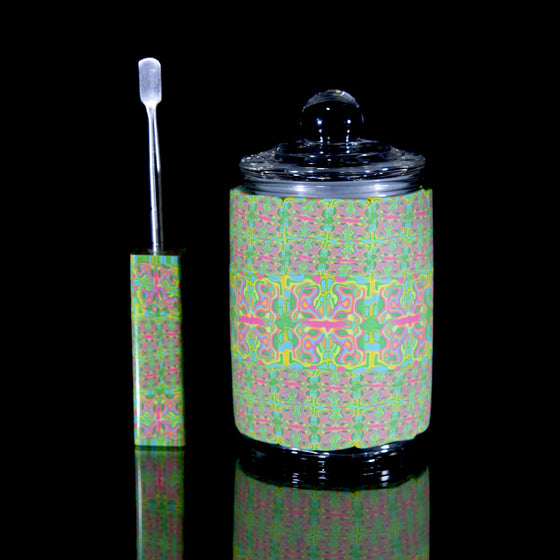 Airtight Glass Stash Jar/Dabber Set - Seamless Pastel Rorschach- Medium