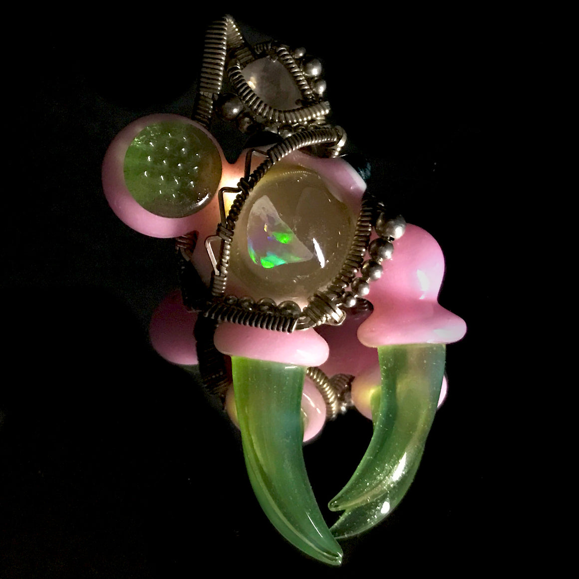 Collab Wire-wrapped Warlock Pendant - Pink Cadillac/Slyme/Unobtainium
