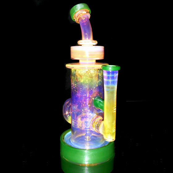 24K Gold Fumed & Carved Klein Recycler - Mossy Green Stardust - 14mm Female
