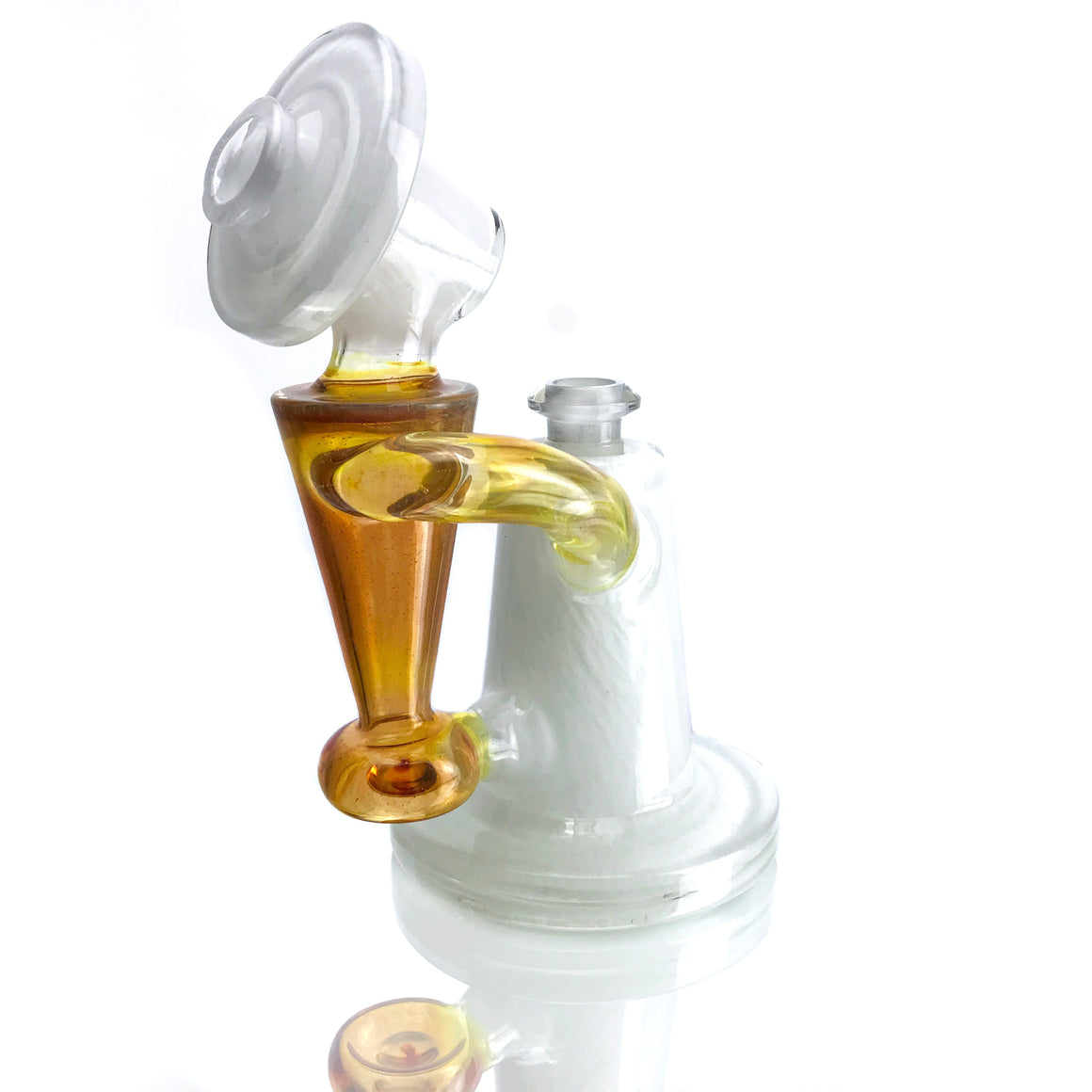 Fully-worked Recycler - Frit White/NS Yellow - 14mm Female