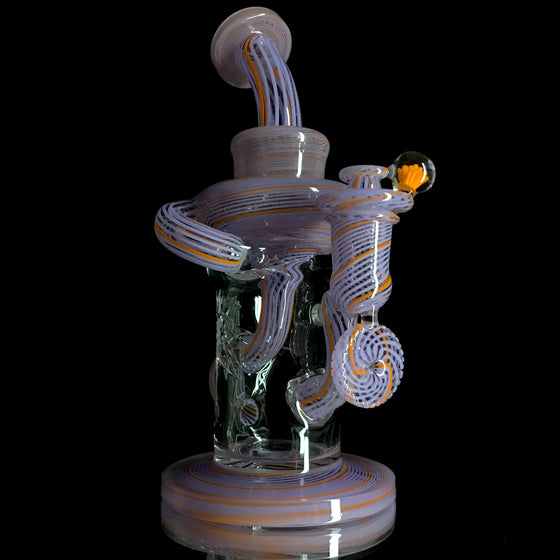 Fully-Worked Klein Recycler - Wysteria/Purple Lollipop/Lava Linework - 14mm Female