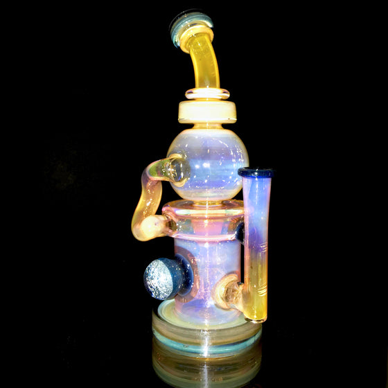 24K Gold Fumed & Carved Orbital Recycler - Blue Stardust - 14mm Female