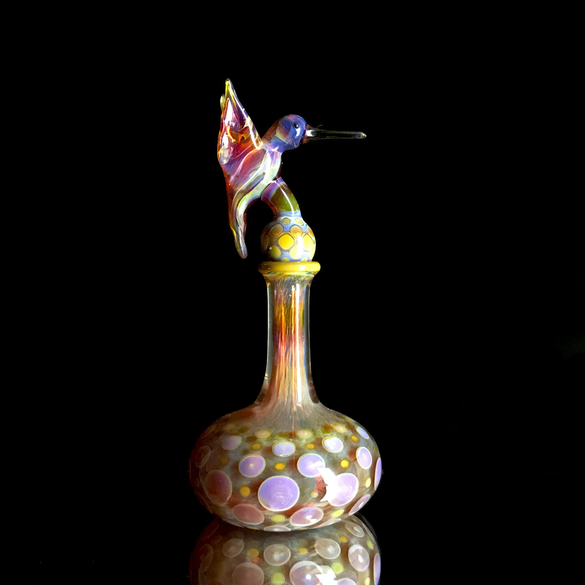 Hummingbird Vessel with Topper - Amber Purple