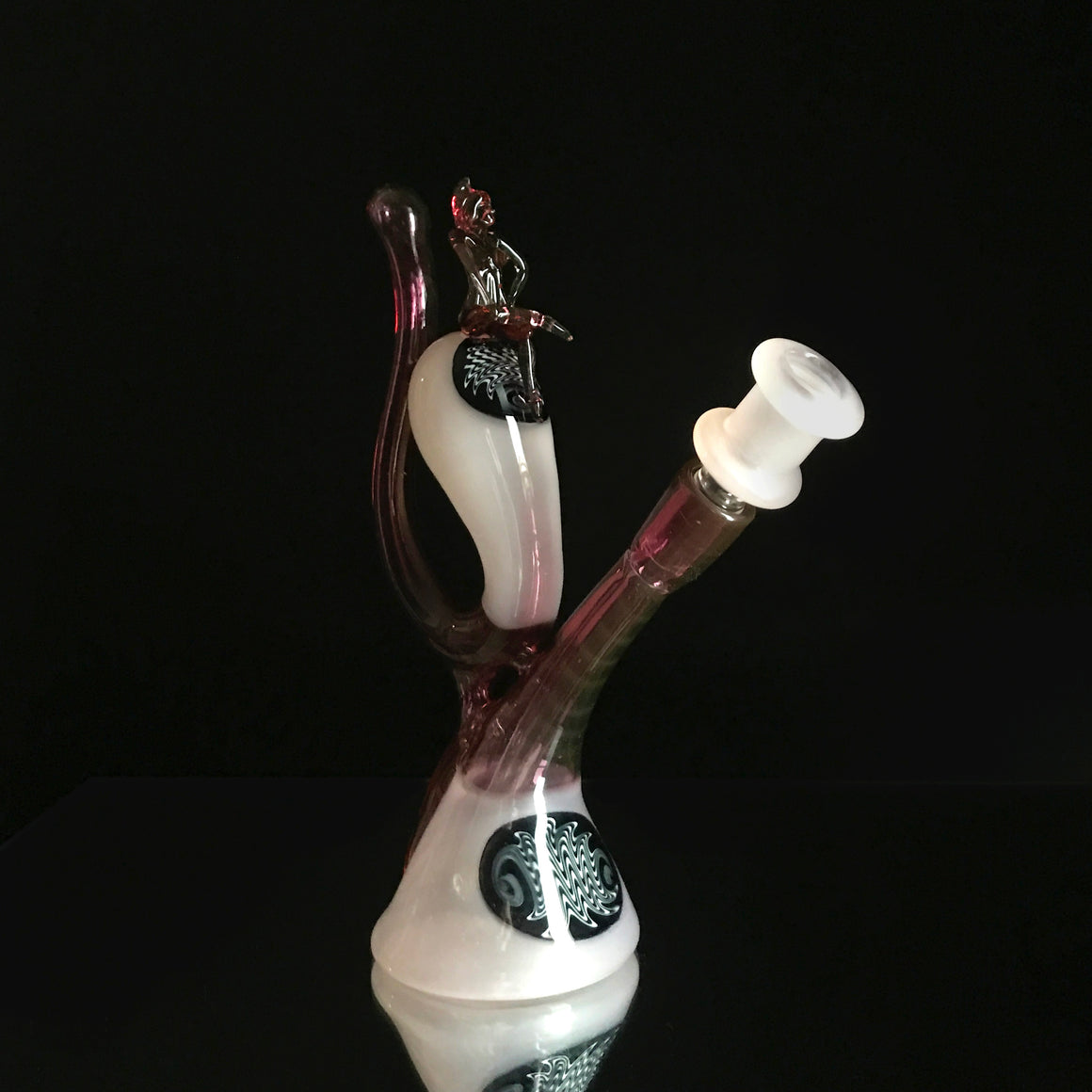 CFL Pollywog Recycler - Pastel Serum/Gold Ruby - 14mm Female