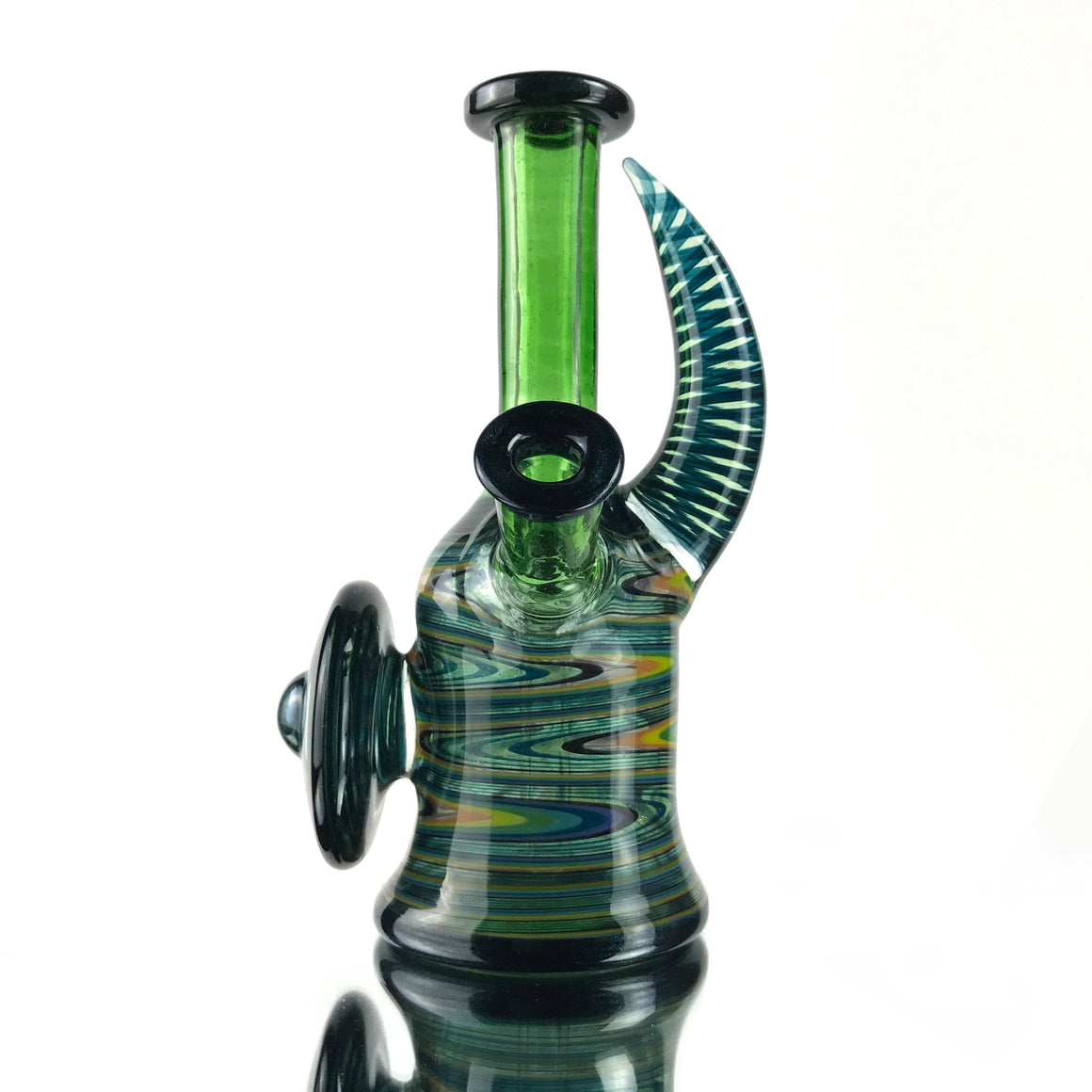 Fully-worked Shield & Horn Rig - Heavy Blue Stardust/Green Stardust Linework - 10mm Female