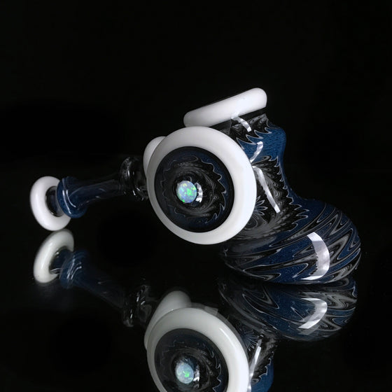 Linework Hammer Bubbler w/ Opal - White/Blue Blizzard/Black